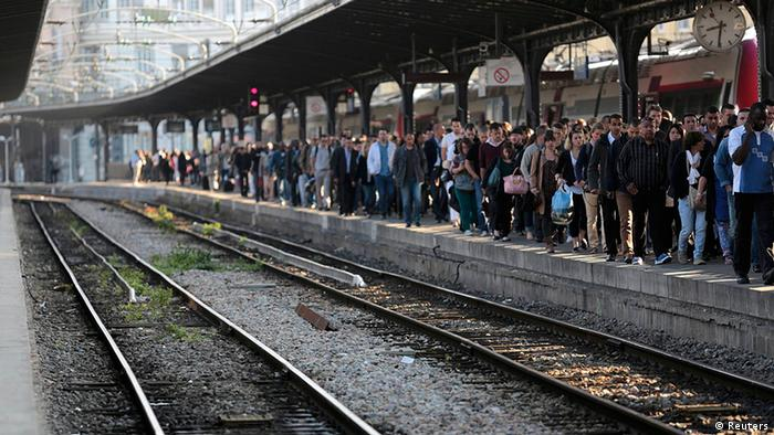 French rail strike at SNCF station