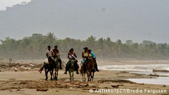 Photo: People riding horses along a beach (Photo: ANTHROTECT/Brodie Ferguson)