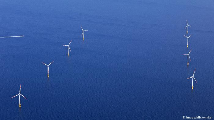 An offshore wind farm in the Baltic Sea off the coast of Germany - photo credit Blickwinkel