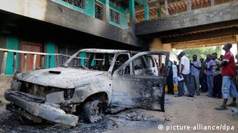 A burned out car in Mpeketoni