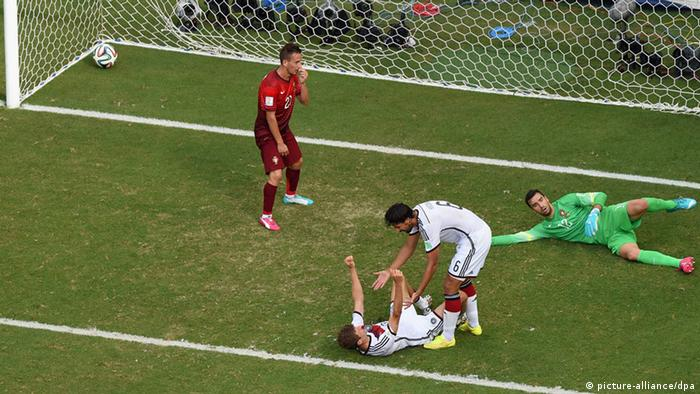 Thomas Müller scores his third goal against Portugal