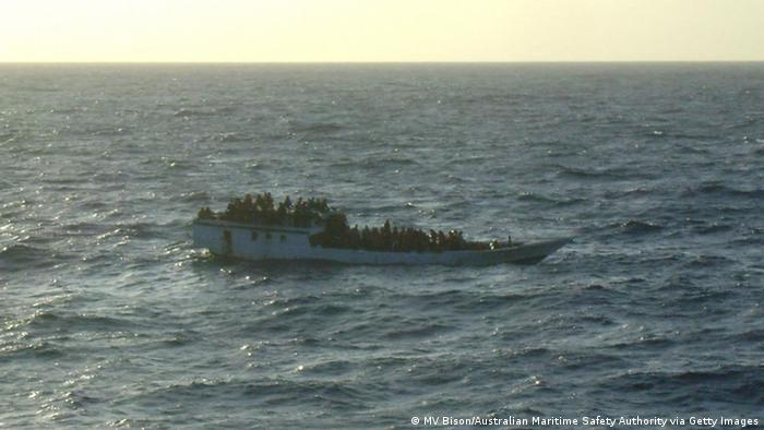 A boat carrying asylum seekers off the coast of Australia