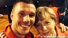 Selfie von Lukas Podolski und Angela Merkel nach dem WM-Spiel Deutschland-Portugal am 16.06.14, veröffentlicht von Podolski auf Twitter und Facebook Copyright: facebook/lukaspodolski