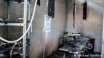 A burned out MSF surgery ward in South Sudan