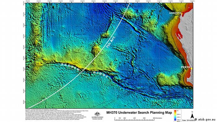 Australien Suche nach Flug MH370 Karte Unterseekarte