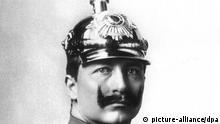 Der letzte deutsche Kaiser Wilhelm II. in Uniform, aufgenommen 1913. Er wurde am 27. Januar 1859 in Berlin geboren und verstarb am 4. Juni 1941 in Haus Doorn.