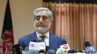 Afghan presidential candidate Abdullah Abdullah talks with journalists during a press conference, in Kabul, Afghanistan, 18 June 2014.