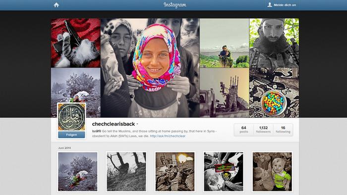 Screenshot eines Instagram-Profils eines Gotteskriegers, der vermutlich in Syrien kämpft.