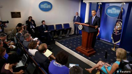 US President Barack Obama at a press conference on Iraq in 2014