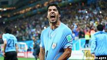 SAO PAULO, BRAZIL - JUNE 19: Luis Suarez of Uruguay celebrates after scoring his team's second goal during the 2014 FIFA World Cup Brazil Group D match between Uruguay and England at Arena de Sao Paulo on June 19, 2014 in Sao Paulo, Brazil. (Photo by Julian Finney/Getty Images)
