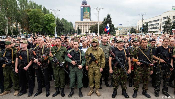 Prorussische Seperatisten leisten Schwur auf die Republik Donezk 21.06.2014