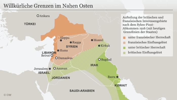 Infografik Sykes-Picot-Abkommen 1916