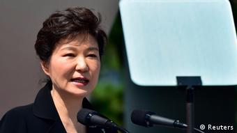 South Korean President Park Geun-hye delivers a speech during a ceremony marking Korean Memorial Day at the National Cemetery in Seoul June 6, 2014 (Photo: REUTERS/Jung Yeon-je/Pool)