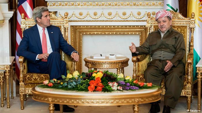 مسعود بارزانی، رئیس اقلیم کردستان عراق و جان کری، وزیر امور خارجه آمریکا در اربیل