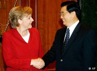 Merkel is departing from Schröder's position in dealings with China