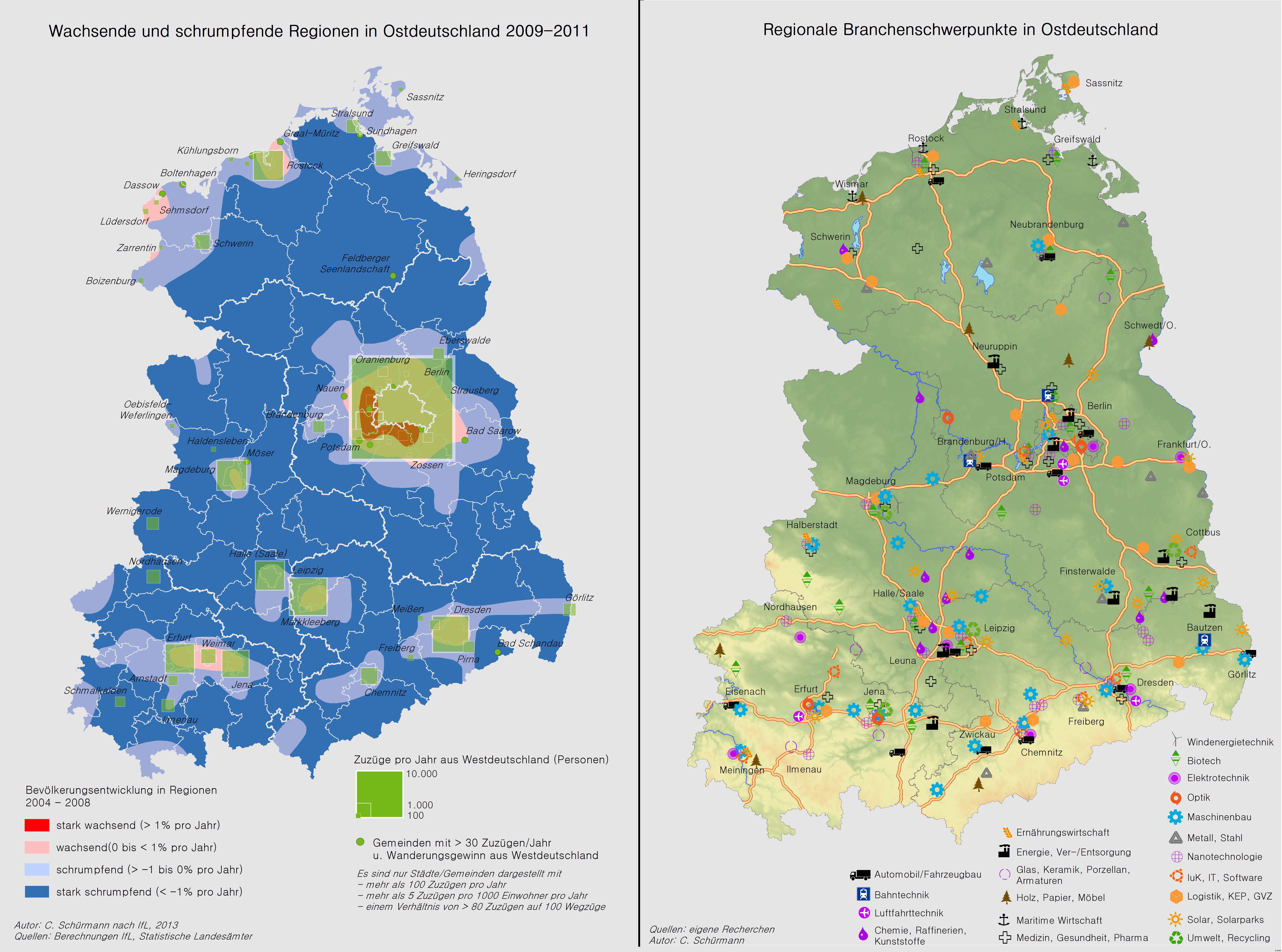 Karten zu Bevölkerungentwicklung und Branchenschwerpunkten aus dem Atlas der Industrialisierung der neuen Bundesländer (Grafik: BMWi)