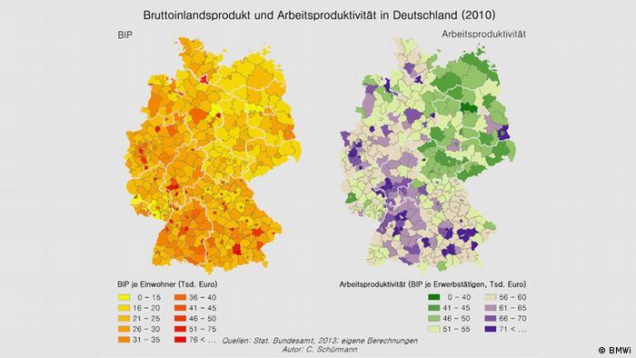 Map showing productivity in Germany Source: BMWi/Atlas der Industrialisierung der neuen Bundesländer