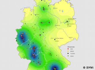 A map shows German company headquarters clustered in southwest Germany. Source: BMWi/Atlas der Industrialisierung der neuen Bundesländer