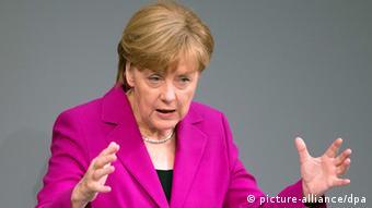 Kansela Angela Merkel wa Ujerumani akizungumza bungeni jijini Berlin.