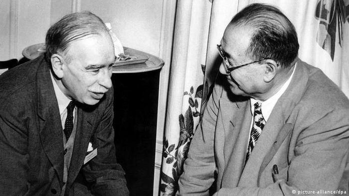 John Maynard Keynes with the Chinese finance Minister in Bretton Woods