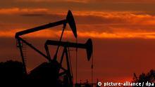 ARCHIV - Ölpumpen stehen im Sonnenuntergang auf einem Ölfeld bei Los Angeles (Archivfoto vom 11.03.2008). Es gilt für Erdöl und Gas, für Eisenerz, Zink oder seltene Erden: Rohstoffe sind begehrt, aber sie werden knapp und immer teurer. Der Kampf um die Vorkommen ist längst entbrannt. In Deutschland macht ein Bündnis zur Rohstoffsicherung mobil. Foto: EPA/PAUL BUCK (zu dpa: Teuer, knapp und begehrt - der Kampf um Rohstoffe) +++(c) dpa - Bildfunk+++