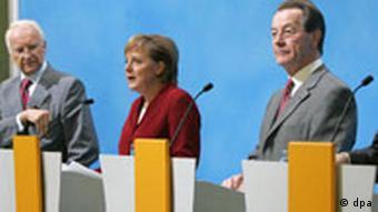 Koalitionsverhandlungen - Stoiber Merkel Müntefering