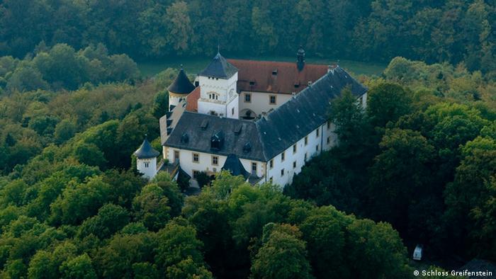 Vista aérea do castelo Greifenstein cercado por árvores