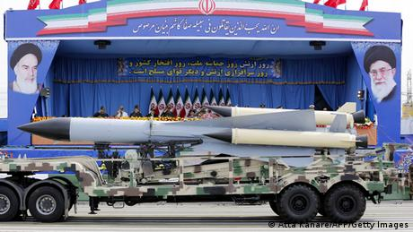 A S-200 anti-aircraft missile on display at a military parade in Teheran