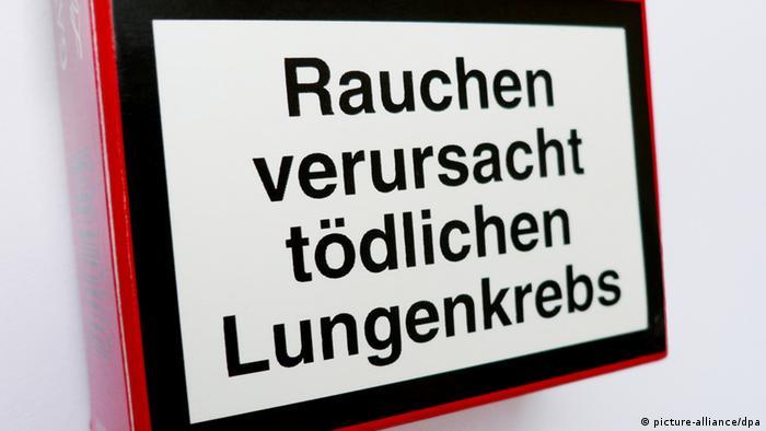 Warnhinweis auf Zigarettenschachtel Deutschland