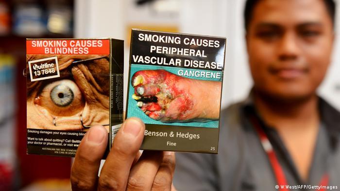 Warnhinweis auf Zigarettenschachtel Australien