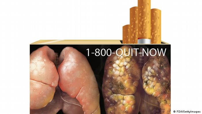 Warnhinweis auf Zigarettenschachtel USA