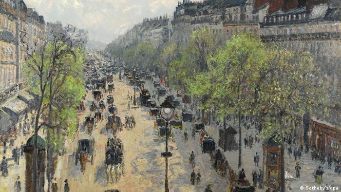 Gemälde Le Boulevard Montmartre, matinée de printemps von Camille Pissarro (Ausschnitt)