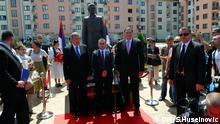 Einweihung des Denkmals für Gavrilo Princip, den serbischen Attentäter von 1914, mit Milorad Dodik (Mitte re.)
