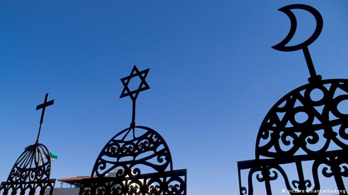صورة رمزية للديانات الثلاث المسيحية واليهودية والإسلام