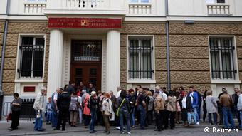 Lineup in front of Corporate Commercial Bank in Sofia, Bulgaria