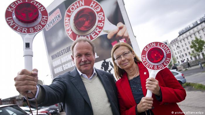 Frank Bsirske und Michaela Rosenberger (Thema Mindestlohn)