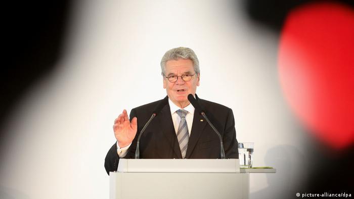 Der deutsche Bundespräsident Joachim Gauck hält eine Rede