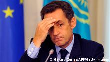 Bildunterschrift:French President Nicolas Sarkozy speaks at the end of his meeting with his Kazakh counterpart Nursultan Nazarbayev in Astana on October 6, 2009. Sarkozy arrived in Kazakhstan on October 6 for a swing through the energy-rich state expected to yield billions of euros in space, energy and defence contracts for French firms. AFP PHOTO / GERARD CERLES (Photo credit should read GERARD CERLES/AFP/Getty Images)
