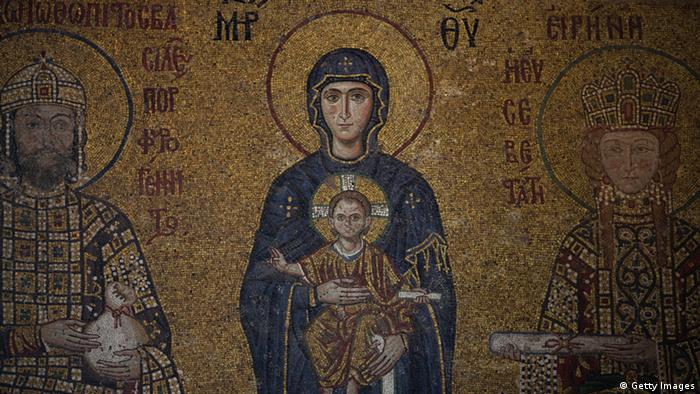 Maica Domnului cu Pruncul Iisus, mozaic descoperit recent în Hagia Sophia