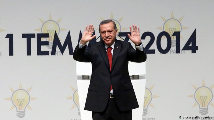 Erdogan at the meeting announcing his candidacy for president of Turkey, July 1 2014