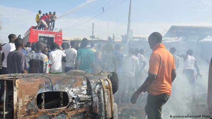 Scene in Maiduguri after a car bomb explosion