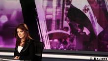 Katar Presse Newsroom beim Nachrichtensender Al Dschasira in Doha Sprecher Rola Ibrahim