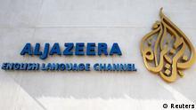 Katar Presse Logo Nachrichtensender Al Dschasira in Doha Englisch