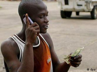 African talking on a cell phone