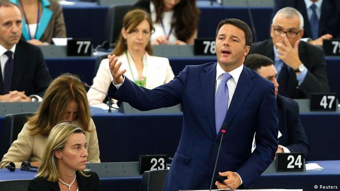 Премьер-министр Италии Маттео Ренци в Европарламенте
