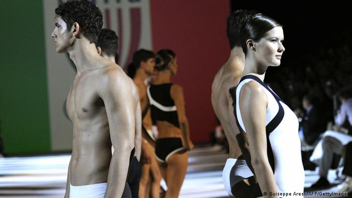 Fashion show for Armani bathing suits for the 2012 Olympics. (Photo: GIUSEPPE ARESU / AFP / GettyImages)
