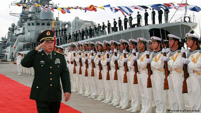 Vice Chairman of China\'s Central Military Commission Xu Caihou visits a navy port on November 22, 2007 in Zhoushan, China.