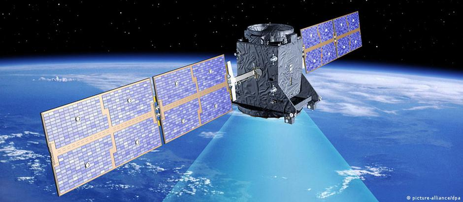 Satélite do projeto Galileo em simulação de computador