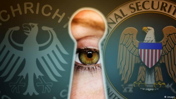 Eye looks through a Keyhole and Symbols from BND and NSA Espionage affair