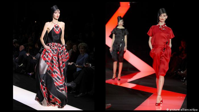 Three women in black, grey and red clothes on the catwalk for the Armani Privé Summer Collection 2013